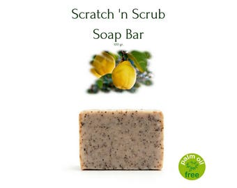 Scratch 'n Scrub Soap Bar - 100% Natural Palm Oil Free Scrub Soap Bar by Quincessentials