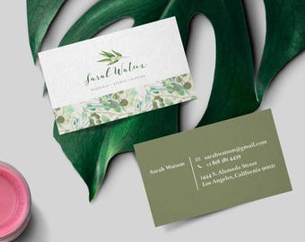 Business Card Design, Watercolor Business Card Design, Ready to print,