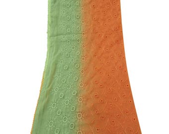 Indian Vintage Dupatta Embroidered Long Scarf Georgette Orange Used Fabric Stole Hijab VDPL2972