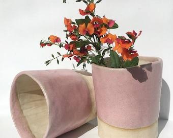 Pink ceramic stoneware tumbler cup