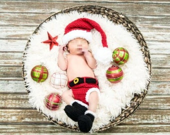 Santa baby newborn outfit   4pc hat, bottoms, two boots  christmas baby