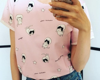 T-shirt Cosmic Cats/ Pink Tee