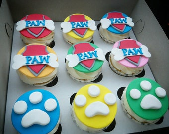 Paw Patrol cupcake toppers Edible 9 psc Puppy