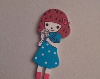 Button figurine little girl dress Mint blue