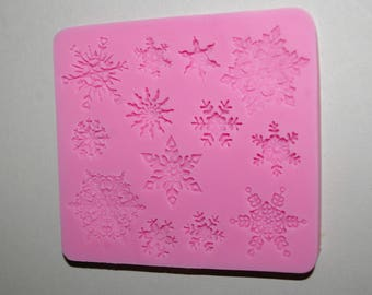 Plate 9.5 snowflakes silicone mold for fondant 8.8 x