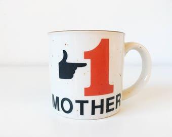 Vintage #1 MOTHER Ceramic Mug Speckled Glaze + White Black Red Brown + Mom Love + Retro Pictogram Coffee Cup + Mother's Day