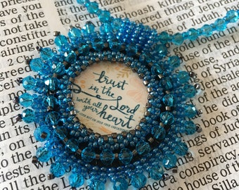 FREE SHIPPING.  Bead embroidery necklace religious.  Turquoise Christian necklace. Bible verse.