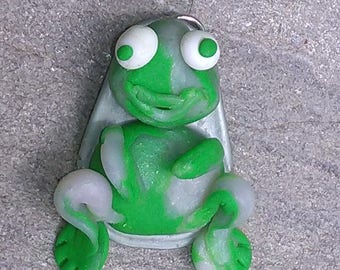 Green Frog with polymer clay pendant