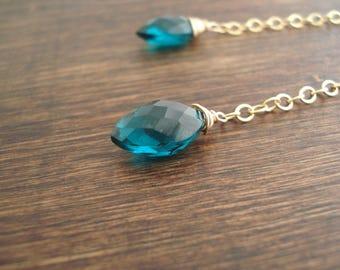 Teal Marquise Earrings in Gold, Long Chain Earrings, Dangle Earrings, Boucles D'Oreille Chaîne Or et Quartz Sarcelle