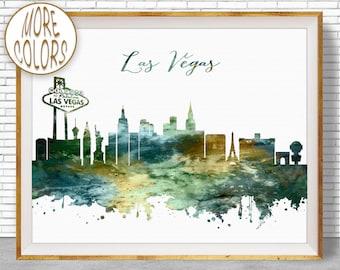 Las Vegas Art Las Vegas Print Las Vegas Skyline Las Vegas Nevada Office Wall Decor Watercolor Skyline Watercolor City Print ArtPrintZone