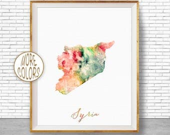 Syria Map Art Syria Print Syria Art Print Home Decor Wall Art Decor Home Wall Decor Watercolor Painting Wall Prints ArtPrintZone