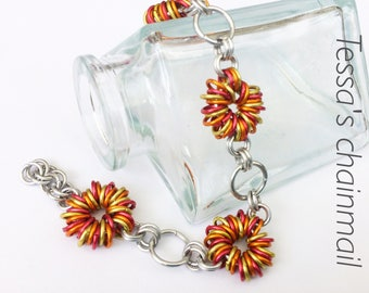 Chainmaille bracelet, yellow flower bracelet, orange bracelet, red bracelet, flower jewelry, yellow bracelet, Tessa's chainmail.