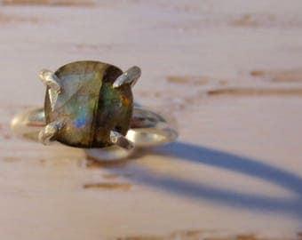 Brilliant Rose  Cut Labradorite Sterling Silver Claw Ring
