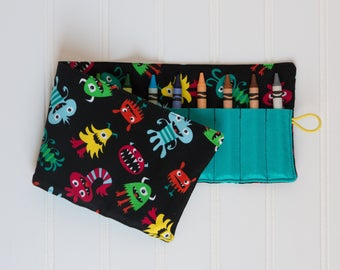 Crayon Roll up - Crayon Holder - Monsters Crayon Roll - Toddler Gift, Travel Toy, Birthday Party Gift