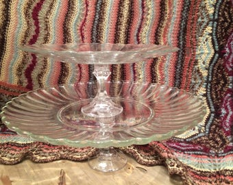 Cake Stands Set of Two Cake Stand Cookie Stand Serving Stand Dessert Stand Wedding Decor Cake Riser Table Bar Stackable Clear Glass