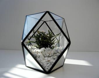 Terrarium, mini glass and mirror - technique tiffany stained glass, stained glass terrarium