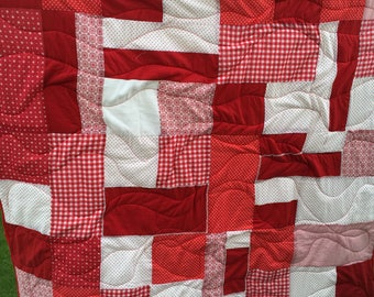 Scandi red and white patchwork quilt