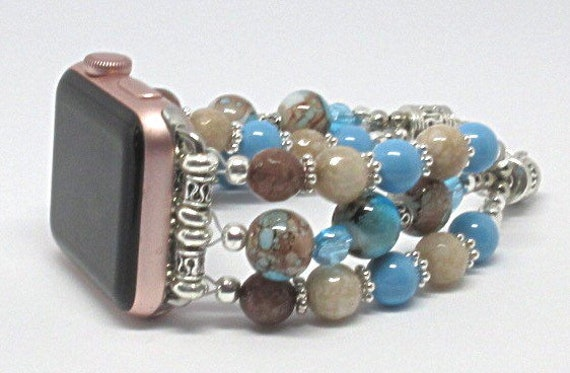 "Blue & Brown Size 7 1/4"" to 8 1/4"", ADJUSTABLE APPLE WATCH Band, Women Bead Bracelet, iWatch Strap, Apple Watch 38mm, 42mm (Custom)"
