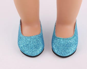 """Blue Glitter Slipper Shoes for 18"""" Doll"""