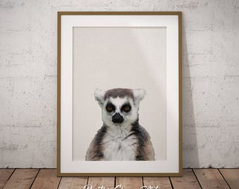 Lemur Art, Nursery Art, Jungle Nursery, Safari Nursery, Lemur Print, Nursery Forest Art, African Art, Africa Print, Forest Nursery Print