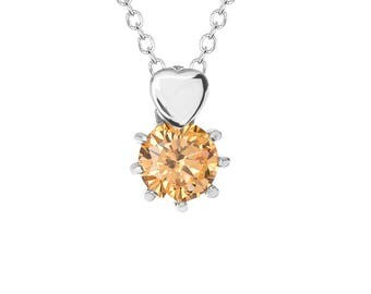 """Orange Solitaire Cubic Zirconia (CZ) Heart Pendant with Stainless Steel, 18"""" Chain Necklace"""