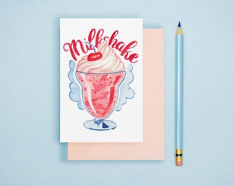 Milkshake Illustration - Food Illustration, Kitchen Decor, Foodie Postcard, Dessert Art Print, Food Lover GIft, Kitchen Wall Art