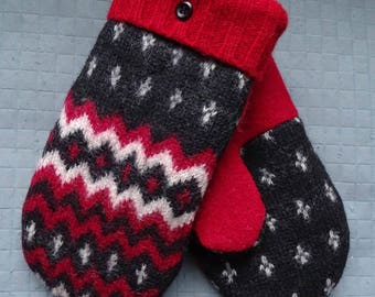 Wool mittens red black white from felted recycled sweaters lined with fleece womens warm soft ecofriendly well made