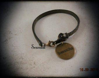 Zip bracelet bronze with Beautiful charm