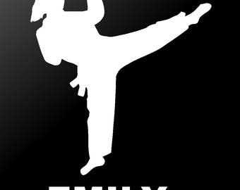 Martial Arts Personalized Karate Tae Kwon Do Girl Vinyl Decal Car Window Sticker