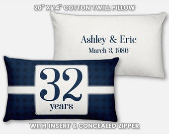 32nd Anniversary Gift for Men 32 Year for Women Present Idea Him Her Gift Wife Husband Wedding Couple Pillow Personalized Parents Mom Dad