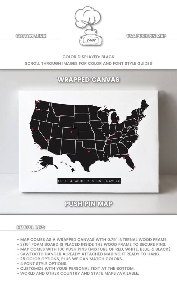 US Push Pin Map Map of the United States Personalized Travel