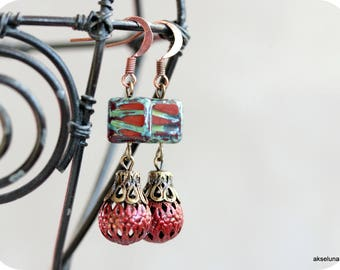 Vintage style, glass beads Czech glass and Red filigree earrings