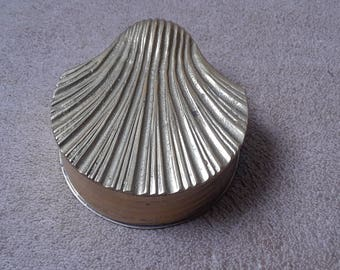 Vintage Brass Sea Shell Trinket Box