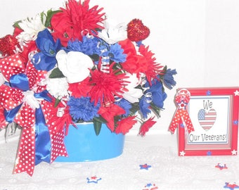 Patriotic Floral Arrangement, Veterans arrangement, Independence day center piece, silk flower arrangement