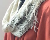 Hand Woven Mobius Cowl,  Handwoven Cowl, Infinity Scarf, Handmade Scarf, Unique Gift, Beige and Black, Statement Accessory