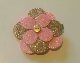 Pink and gold glitter fabric flower on a crocodile clip. Hair accessories flower clip party hair