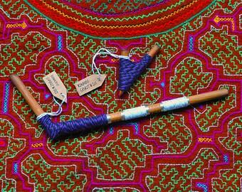 Kuripe and Tepi Traditional Handmade Rapé Snuff Applicators Pipe Purple String Peru