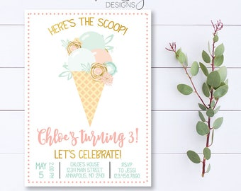 Ice Cream Birthday Invitation, Ice Cream Invite, Ice Cream Party, Here's The Scoop Invitation, Floral Ice Cream Invite, Pink And Mint Invite