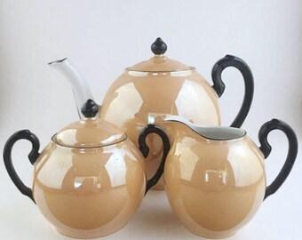 Vintage GHO Bavaria Peach Luster 18 Piece Tea Set