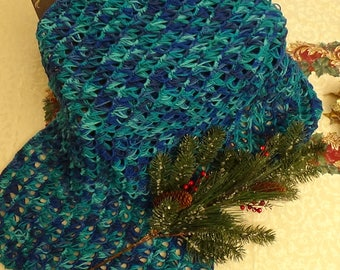 Blue Variegated Broomstick Shawl