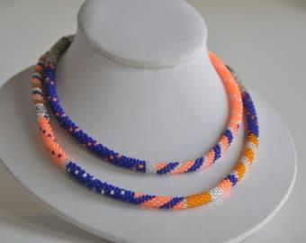 Florida Gators jewelry, orange and blue necklace, bead crochet necklace, Florida Gators wedding, gift for her, Denver broncos, UF gift