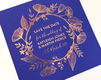 Foil Save the Date Cards - Spring Flower design, personalised and customisable