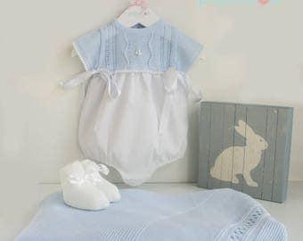 Cotton Romper Blue and White
