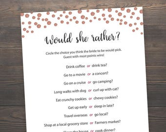 Rose Gold, Bridal Shower Games, Would She Rather, Bachelorette Games, Who knows the Bride Best, Hen Party Game, Hens Night, Rose Gold, J012