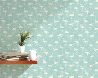 Tropical temporary removable wallpaper with simple white flamingos on light blue teal self adhesive vintage wall mural CC042