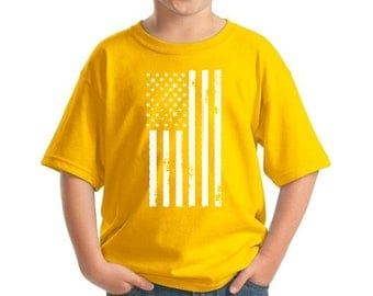 USA Flag Youth Kids T shirt Tops Shirt Patriotic Independence Day 4th of July White US Flag Vintage