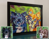 Custom POP ART 11in x 14in x 1 3/8in Oil/Acrylic Pet Portrait Painting + Short Time Lapse Video Production