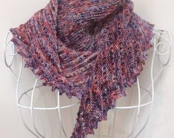 hand knit shawl, merino hand dyed yarn shawlette, luxury knit shawl, neck scarf