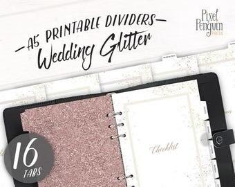Wedding Planner Divider Set, Gold Glitter Filofax A5 Divider, Wedding Planner Binder, Bridal Planner Dashboard Printable, Kikki K, Rose Gold