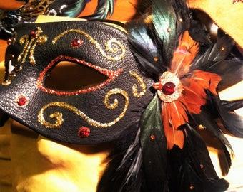 Black Leather Matador Mask
